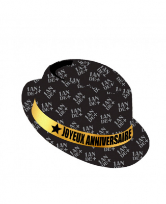 Chapeau Joyeux anniversaire noir