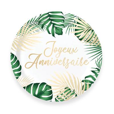 6 assiettes Joyeux Anniversaire jungle