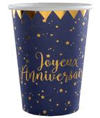 10 gobelets carton Joyeux Anniversaire bleus et or