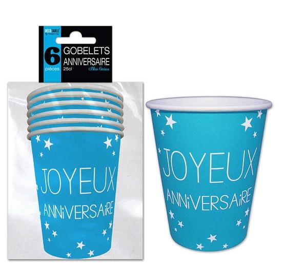 6 gobelets Joyeux Anniversaire bleus