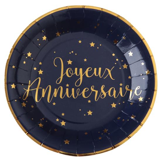 10 assiettes Joyeux Anniversaire bleues et or