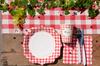 20 serviettes de table Guinguette rouges et blanches
