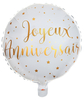 Ballon Alu Joyeux Anniversaire blanc et or
