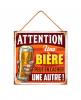 """Plaque """"une bière peut en cacher une autre"""""""
